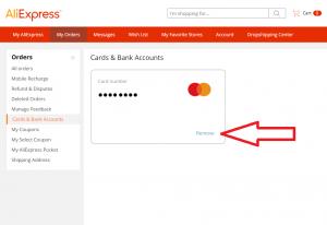 AliExpreeに登録されたクレジットカードの削除